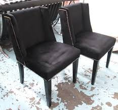 lot 13 dining chairs a set of eight black velvet with studded detail