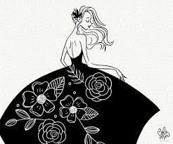 Princess Dress Svg Glam Fashion Girl Clipart Cut Files Silhouette Fashionista Floral Leaves Flower Hair Woman