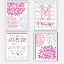 baby girl nursery wall art pink gray you are my sunshine flower burst girl room wall