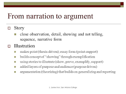 moving from narrative to argument essay basics while workshopping  6 from