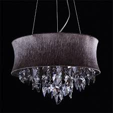 captivating drum chandelier shades black canvas and genuine crystal