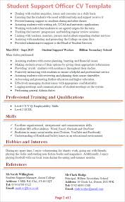 good cv template student support officer cv template tips and download cv plaza