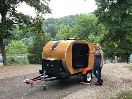 picture of teardrop camper made from wood