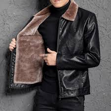 senarai harga winter leather jacket men thick warm fur lining pu leather jackets coat business casual coat terkini di malaysia