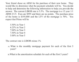 Arm Amortization Schedule Solved Your Friend Chose An Arm For The Purchase Of Their