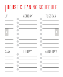 printable weekly house cleaning schedule