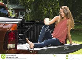 Beautiful Country Girl On Back Of Pick-up Truck Stock Image - Image ...