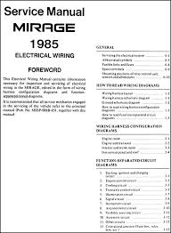 1985 mitsubishi mirage wiring diagram manual original 1985 mitsubishi mirage wiring diagram manual original · table of contents