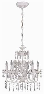 evelyn 5 lite chandelier in antique white w prism crystals