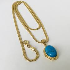 14k yellow gold snake necklace with turquoise stone pendant lenght 47 cm no