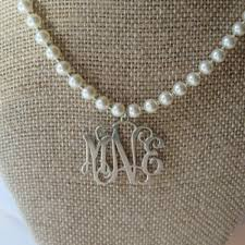 sterling silver initial pendant on pearls monogram necklace sterling and pearl necklace bridesmaid jewelry bridal gift gift idea