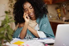 online family budget family budget and finances cute african woman with afro haircut