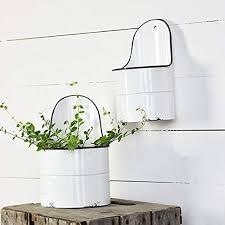 enameled meduim wall planter rustic