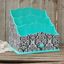 damask office accessories. Organizer, Desk, Art, Cosmetic, Shabby Chic, Aqua, Turquoise, Black Damask Office Accessories O