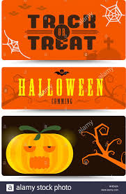 Halloween Business Cards Halloween Banner Collection With Flat Design Halloween