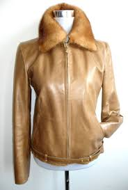 galotti leather jacket biker jacket leather mink fur collar made in italy