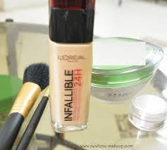dewy highlighted makeup feat l oreal paris infallible reno liquid foundation strobing
