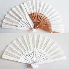 Embroidered <b>Elegant White</b> Folding Hand Fan <b>Wood</b> Handle ...