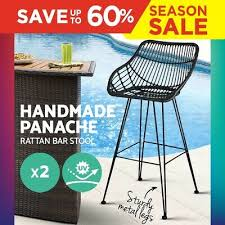 artiss 2x outdoor wicker bar stools rattan stool dining chair black pe barstools