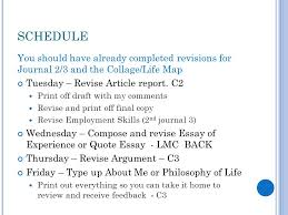 senior writing week of introduction to the portfolio  schedule you should have already completed revisions for journal 2 3 and the collage