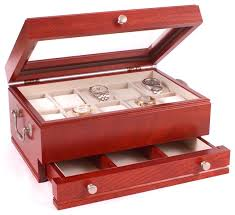 the captain ten watch glass top storage chest with a jeweler s drawer america