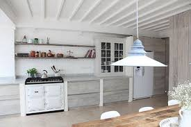 industrial kitchen with rustic wood paneling