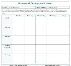 Work Assignment Sheets Free Task List Templates Schedule Template