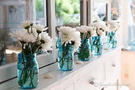 Decorating Ideas With Mason Jars Decorating Ideas With Blue Mason Jars And Flowers 58