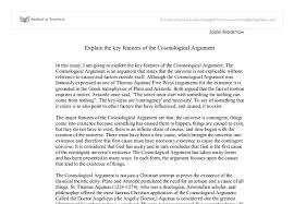 explain the key features of the cosmological argument a level document image preview