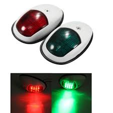 Marine Lights A Pair 12v 10w Bow Side Navigation Marine Lights Led Red And Green