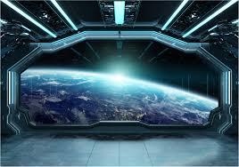 Spaceship 3D effect 3D Wall Mural ...