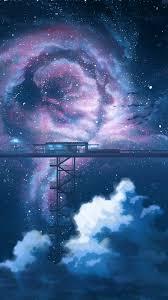 Anime Night Sky Stars Clouds Scenery 4K ...