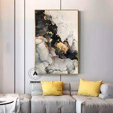 gold marble wall decor on canvas framed