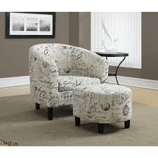 monarch specialties white arm chair with ottoman