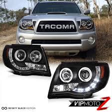 05-11 Tacoma X-Runner Black Angel Eye LED DRL Headlamps Smoke Red ...