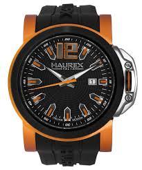 orange watches men s watches haurex mens 1d370uno san marco collection orange accents black spider web dial watch