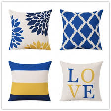 Yellow And Blue Decorative Pillows