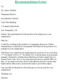 Template To Use Write A Recommendation Letter For Employment