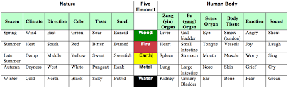 Chinese Medicine Five Elements Chart Chinese Medicine Diet Recommendations Wild Earth