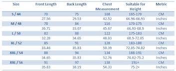 Jersey Size Chart Size Chart Bajunba