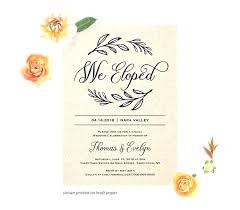 Elopement Party Invitation Template Rustic Custom Elopement
