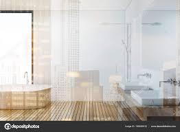 Holzboden Bad Und Dusche Seite Getönt Stockfoto Denisismagilov