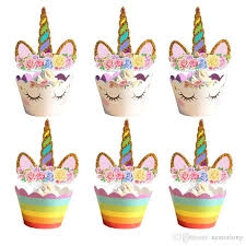 2019 Unicorn Cupcake Toppers And Wrappers Set Cake Toppers