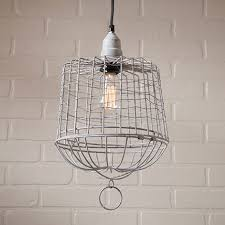basket pendant light. Irvin\u0027s Egg Basket Cage Pendant Light In Weathered Zinc T