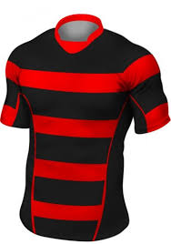 black red stripe rugby shirt shorts