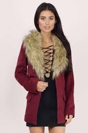 wintertime wine faux fur wool coat
