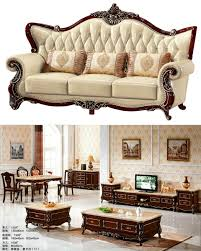 Royal Sofa Set Designs In India B01 Wooden Carved Royal Style Genuine Leather Sofa Set For