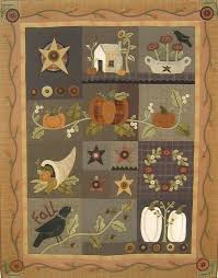 Primitive Folk Art Wool Applique Quilt Pattern by PrimFolkArtShop ... & Primitive Folk Art Wool Applique Quilt Pattern by PrimFolkArtShop Adamdwight.com