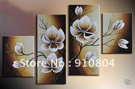 four panels rectangle brown cream flower picture framed huge wall art canvas painting on canvas flower  on home wall art painting with wall art best ideas wall art canvas painting home wall decor