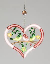 Formano Fenster Hänger Herz Mit Blume Vögeln Rosa Weiß Ca